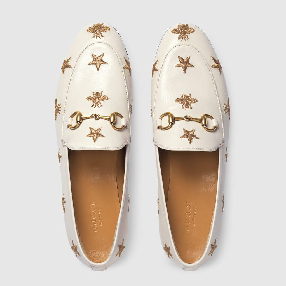 814677b8b75 Shop the Gucci Jordaan embroidered leather loafer by Gucci. A distinctive  symbol from the  70s archives