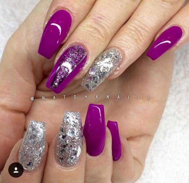 Fuschia Purple Nails Purple Nail Designs Pink Nail Designs