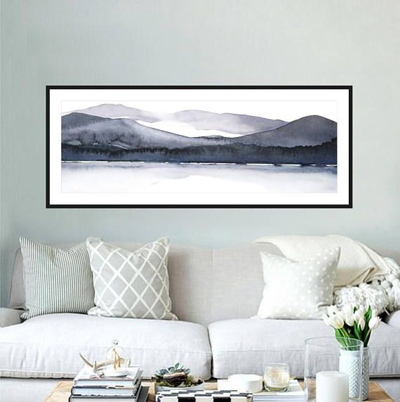 Large Landscape Watercolor Print 12x36 Inches Or 8x24 Etsy In 2021 Extra Large Wall Art Watercolor Landscape Large Abstract Painting