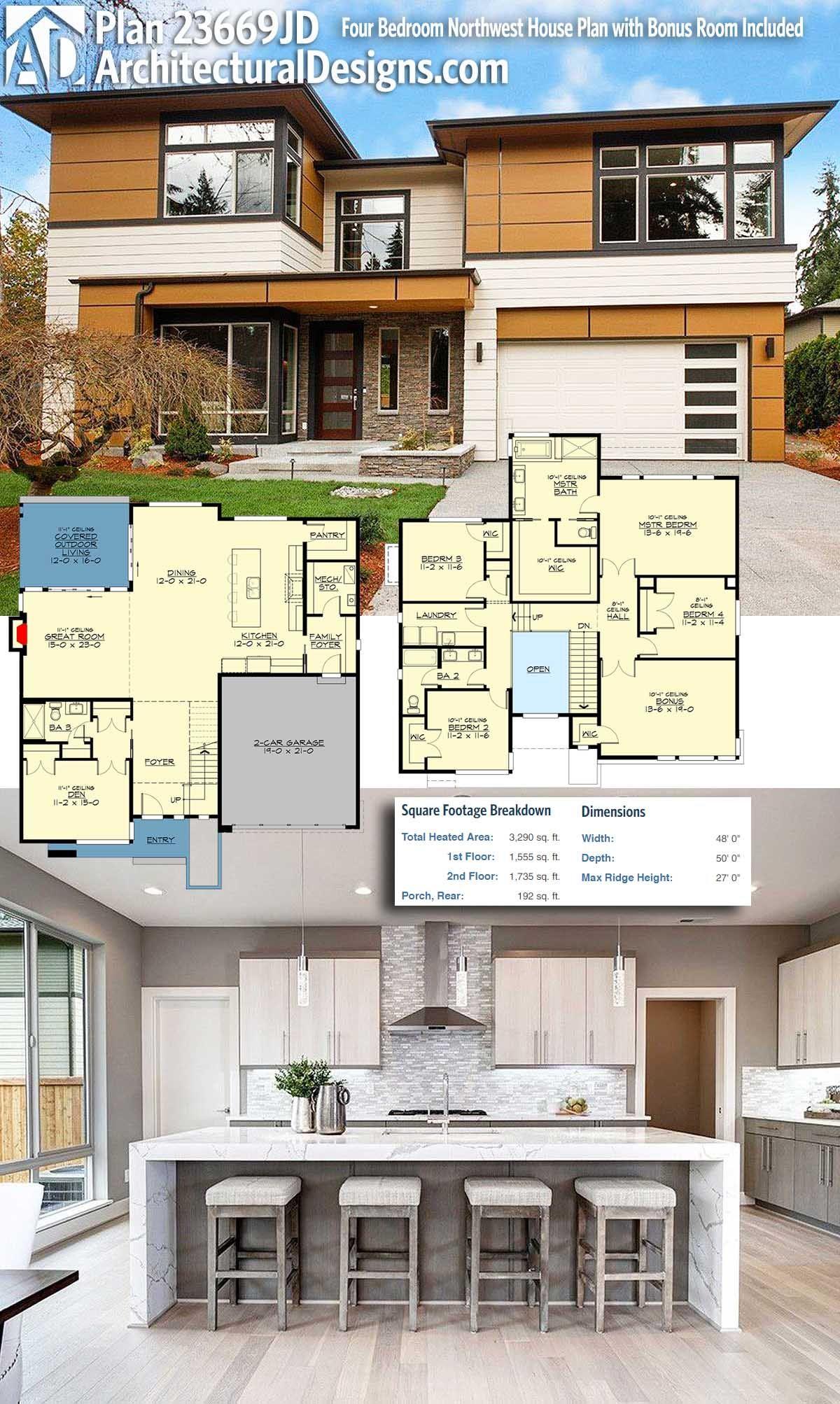 Plan 23669jd Four Bedroom Northwest House Plan With Bonus Room Included Modern House Plans Modern House Design Sims House Plans