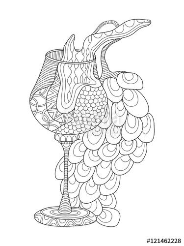 Wine glass with grapes coloring page for adults zentangle