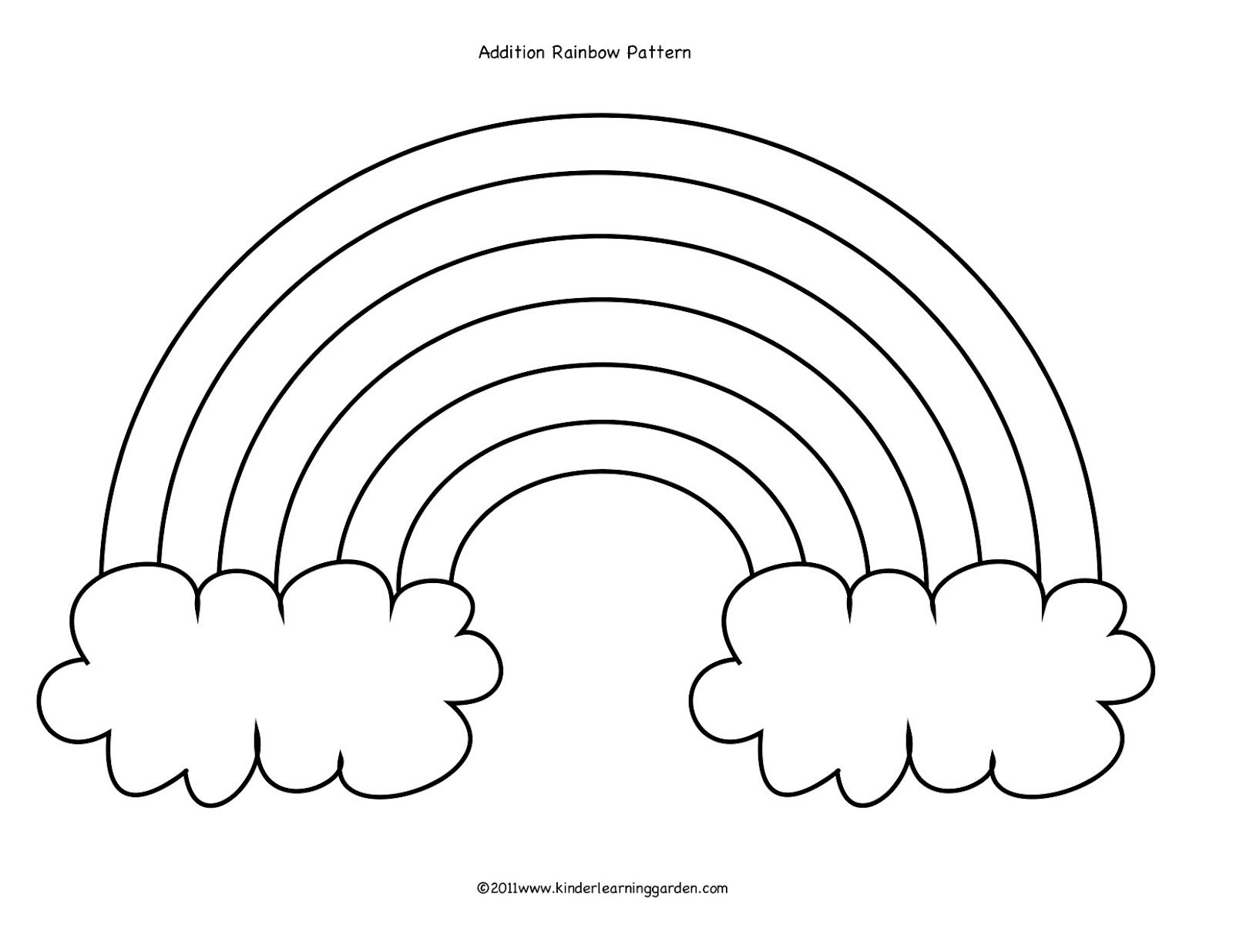 Rainbow Cloud Addition Rainbow Drawing Preschool Coloring Pages