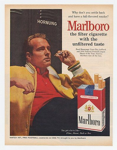 It was a different time when professional athletes could endorse cigarettes -- not only in magazine ads, but on television.  I used to swoon when I saw Paul Hornung in either venue.