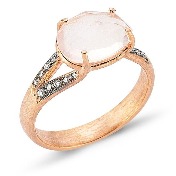 Sp'ring! Rose Gold Ring (8k) with Diamonds and Pink Quartz - Gemstone Ring -Diamond Ring - Rose Gold Ring - One Of A Kind Ring