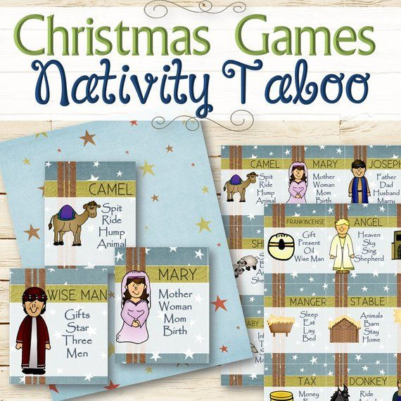Nativity Christmas Taboo Game - INSTANT DOWNLOAD
