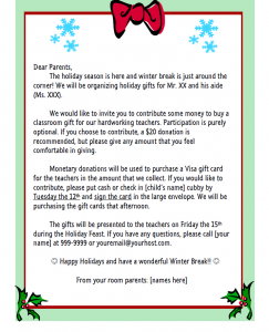 Christmas Holiday Request Letter.Teachergift Girl Scouts Letter To Parents Parents Room