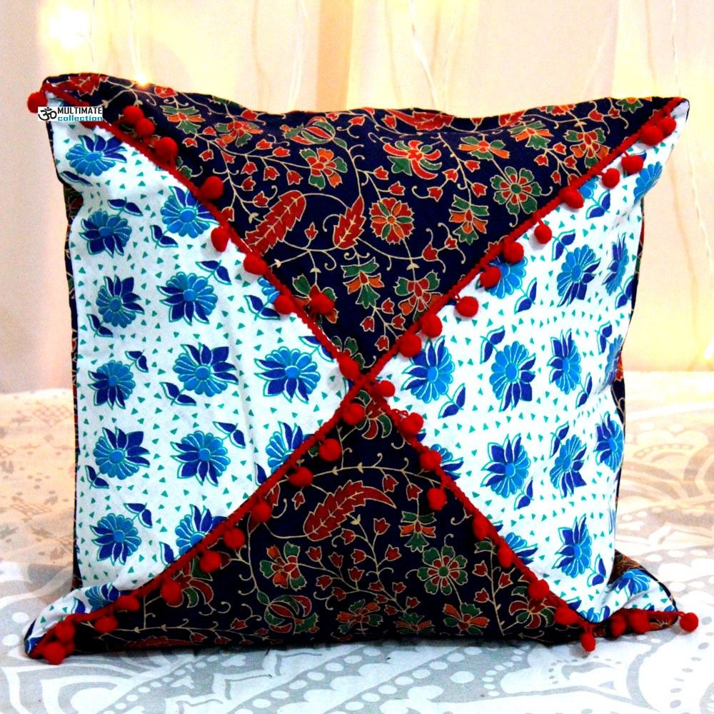 Multicolor Decorative Pillow with pom pom