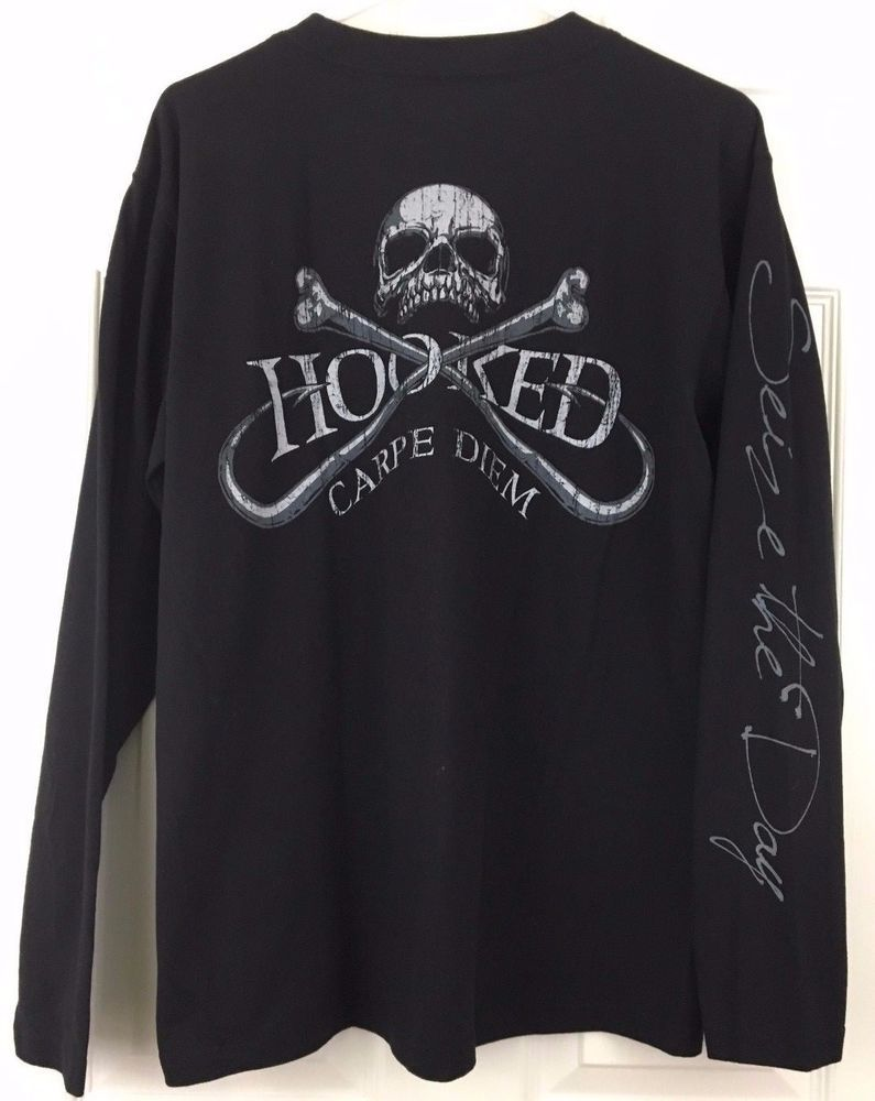 Skull Scroll Men/'s Black /& Grey Skull Pattern Print Longsleeve T-shirt Got...