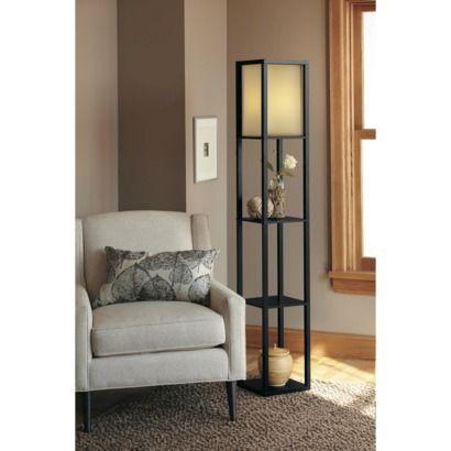 Threshold Shelf Floor Lamp Black With Ivory Shade