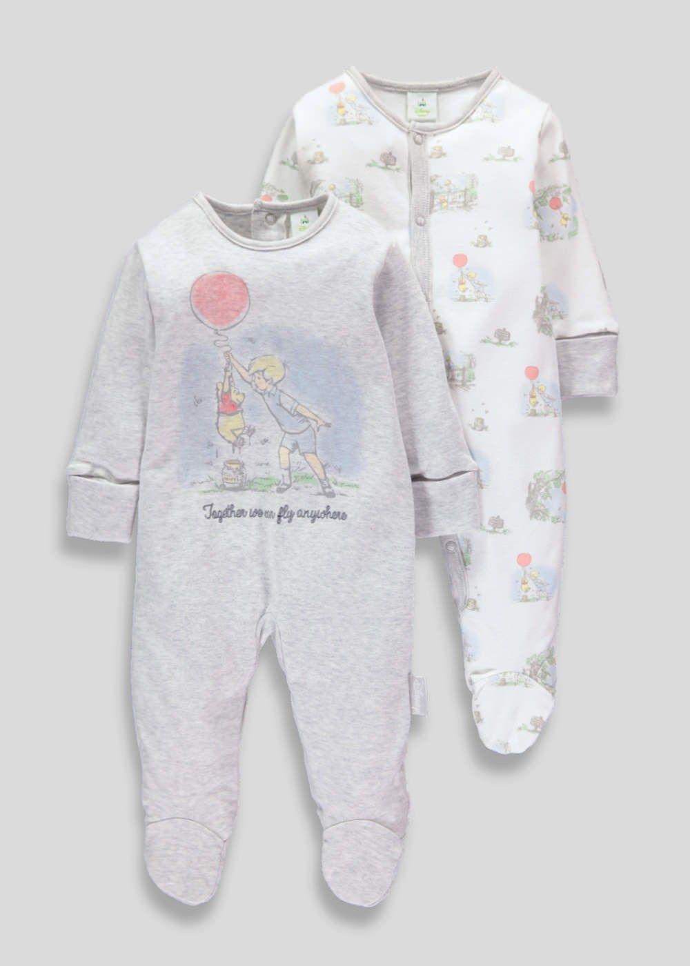 Uni 2 Pack Winnie The Pooh Sleepsuits Tiny Baby 12mths