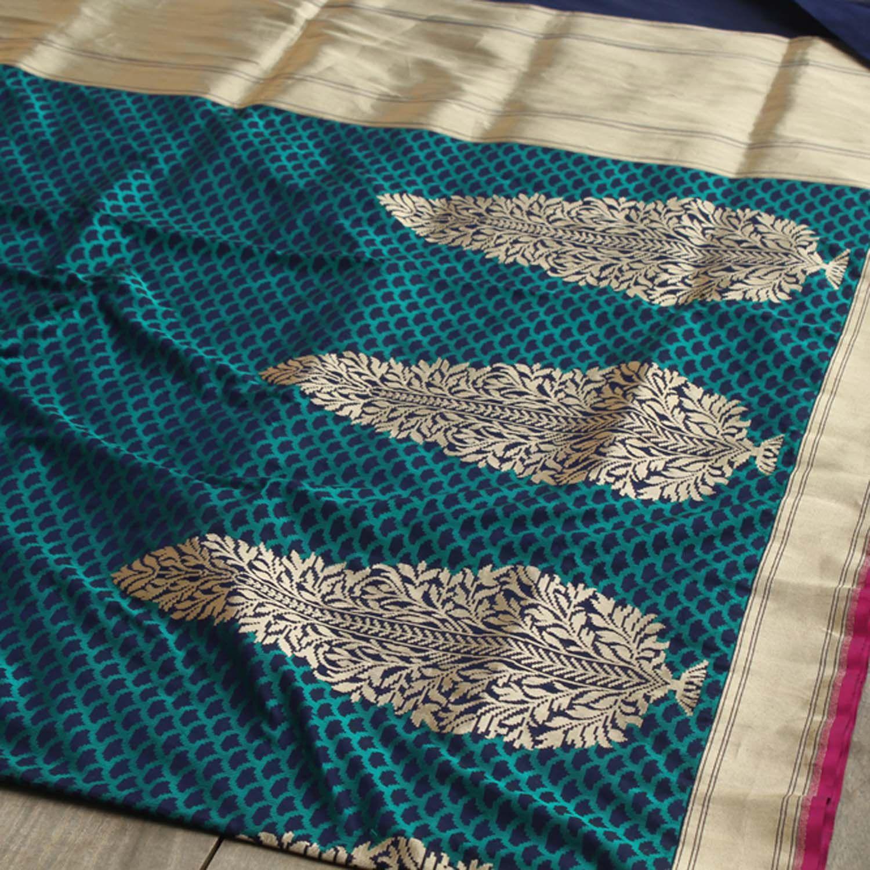 260938a327 Royal-Navy Blue Pure Katan Silk Banarasi Handloom Saree - Tilfi - 3