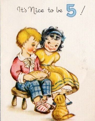 5 Year Old Vintage Birthday Card Cards Pinterest Vintage
