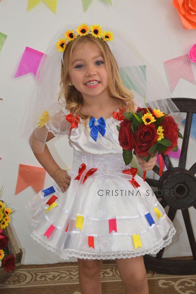 Vestido Noivinha Cristal - Caipira Chic INFANTIL Vestido Caipira Infantil ee05c56d1c1