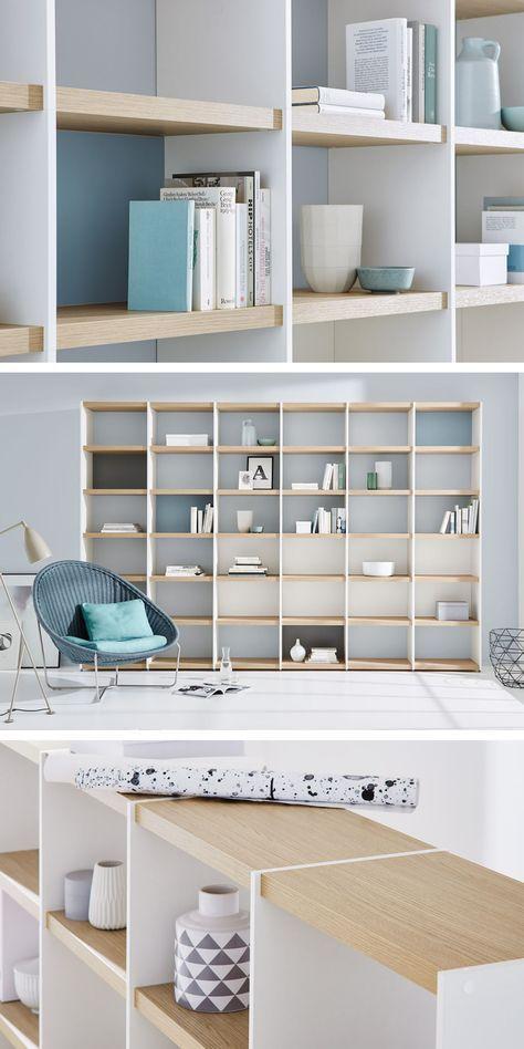 Wohnwand/Bücherregal im Wohnzimmer \u2013 weiß/eiche Einrichten Pinterest