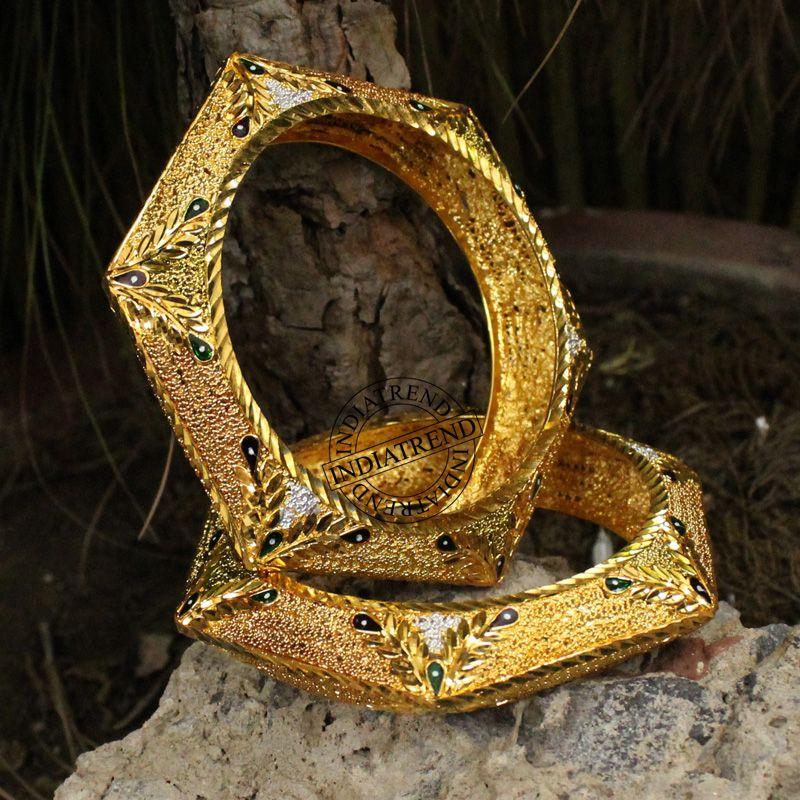 MEKHA 1 PAIR GOLD PLATED ENAMEL BOLLYWOOD BANGLES Size 2.8