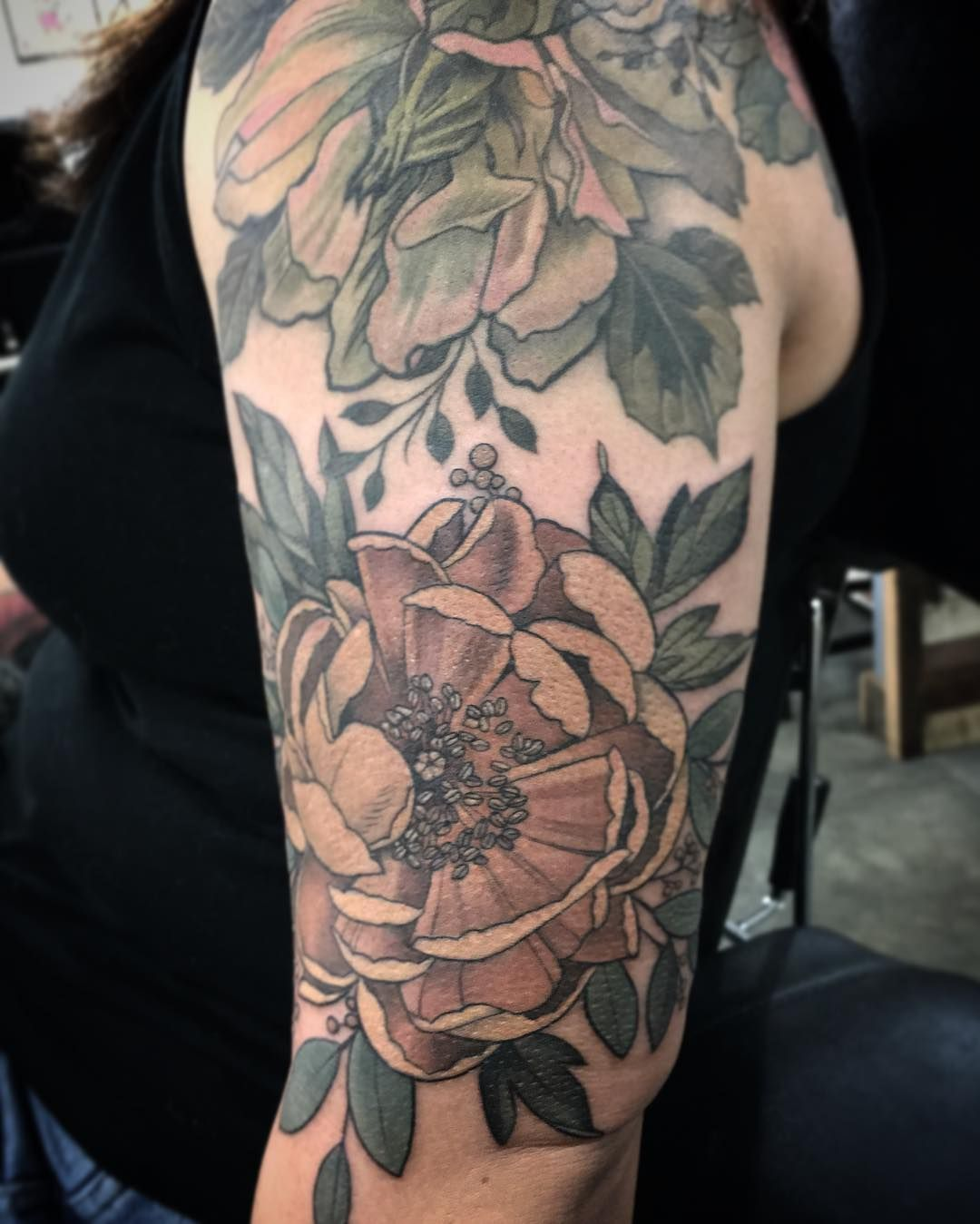 """Beautiful Botanical Tattoos By Salem Witch Descendant: """"#peony Below, #hellebore Above With Some #eucalyptus For"""