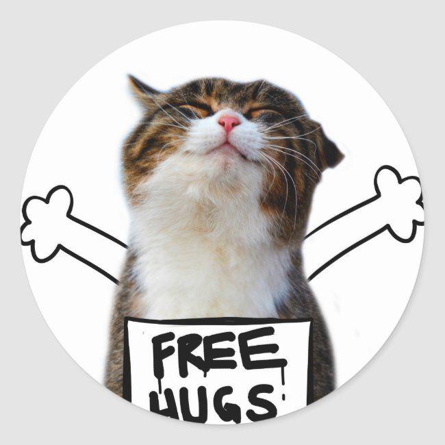 Cat hug - free hugs - cat memes classic round sticker | Zazzle.com