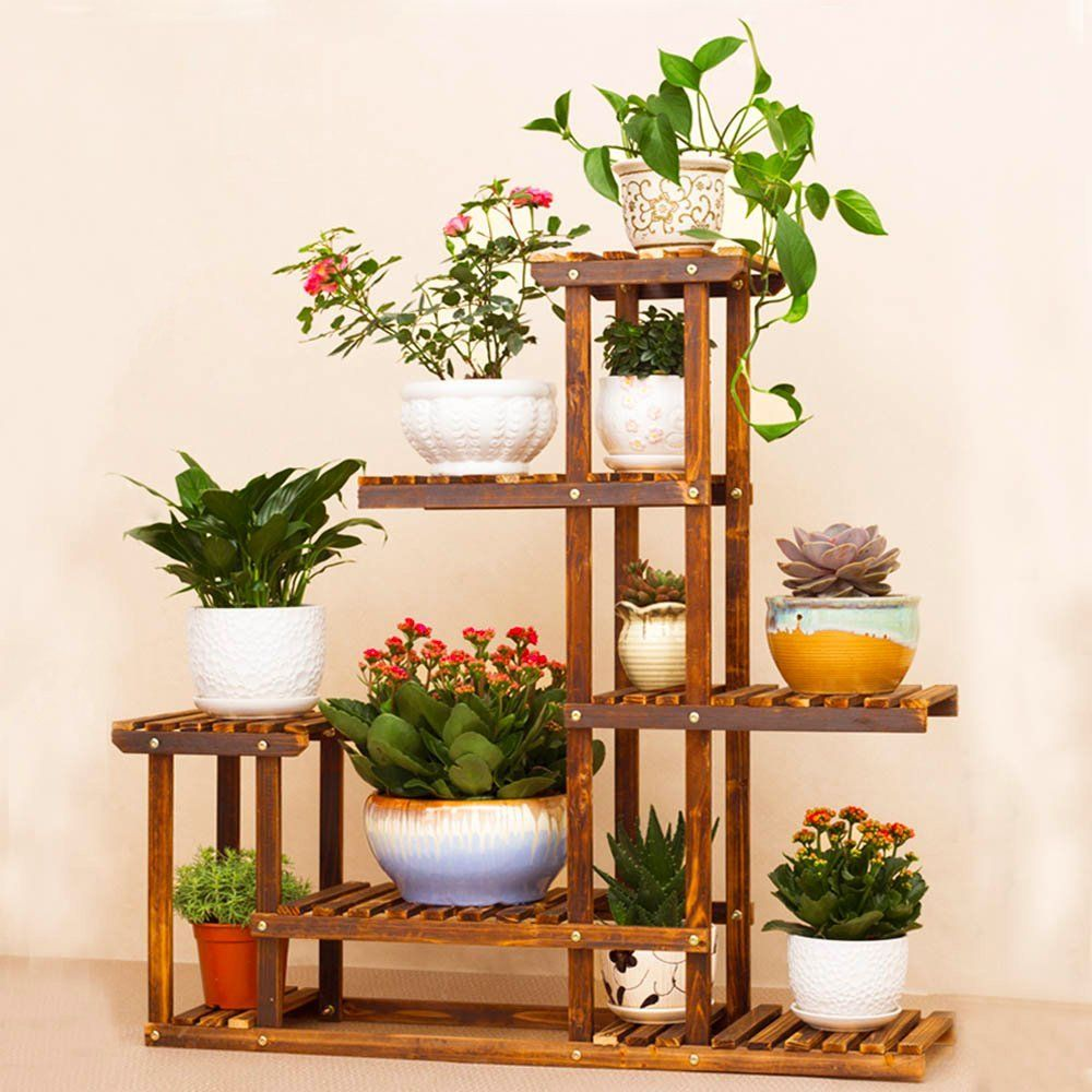 Wooden Flower Stands Plant Display Stand Wood Pot Shelf Storage Rack Outdoor Indoor 6 Pots Holder 96x95x25cm Wooden Plant Stands Wooden Flowers Plant Stand