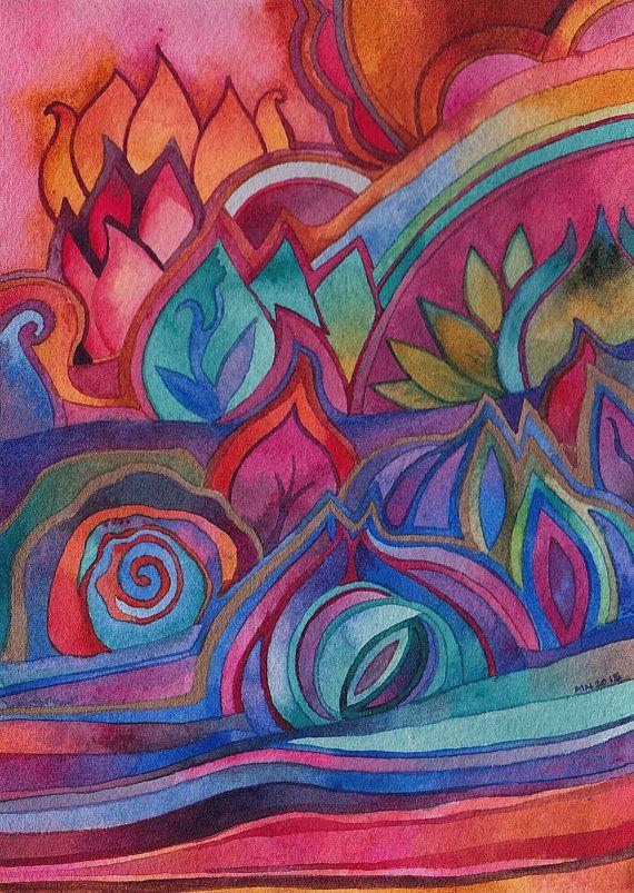 Dreamscape 3 Original Watercolor by Megan Noel by meinoel on Etsy