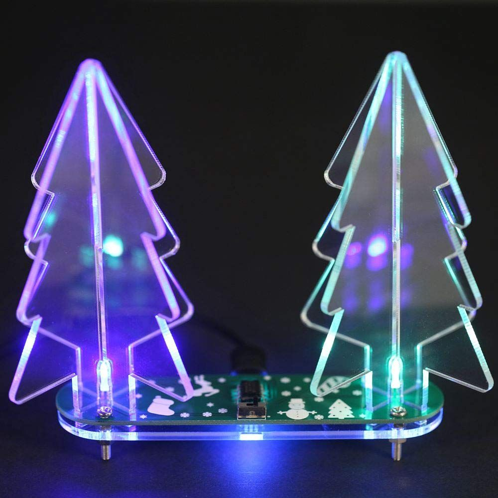 Sodial Diy Full Color Changing Led Acrylic 3d Christmas Tree Electronic Learning Kit Green Pcb Board Transp 3d Christmas Tree Color Changing Led Christmas Tree