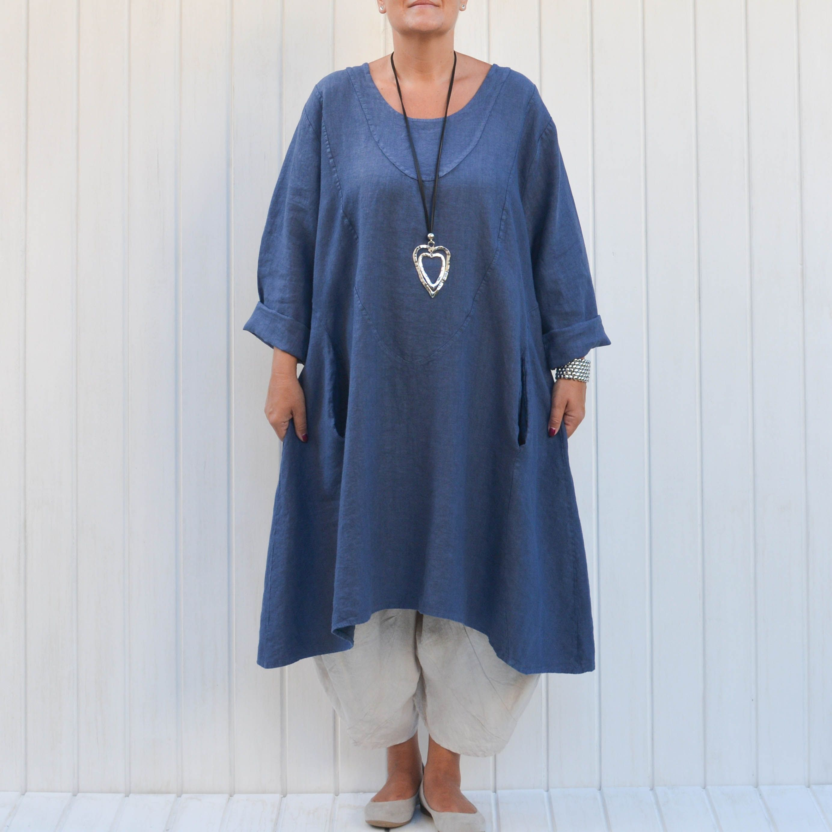 afb3d1a94e Womens Lagenlook Heavy Linen Dress with Pockets  lagenlook  linen   plussizelagenlook