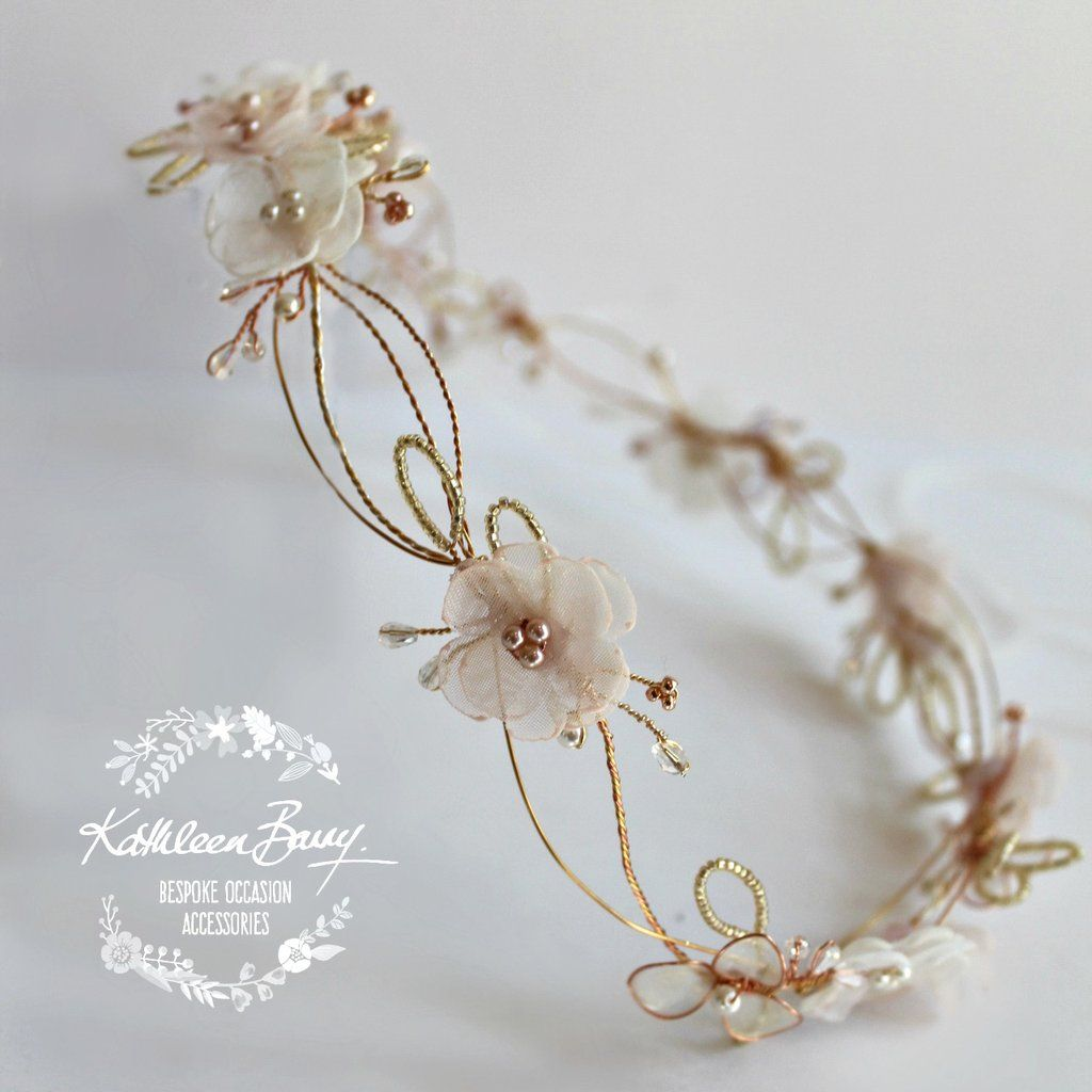 Rose gold wedding hair accessories - Jennifer Rose Gold Blush Pink Headband Wreath Floral Crown Circlet Bridal Hair Accessories