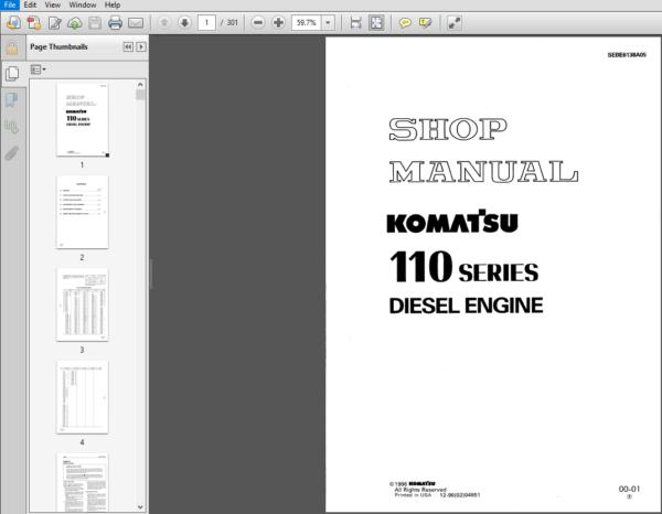 Komatsu 110 Series Diesel Engine Shop Manual 10001 And Up Pdf Download In 2020 Diesel Engine Komatsu Diesel
