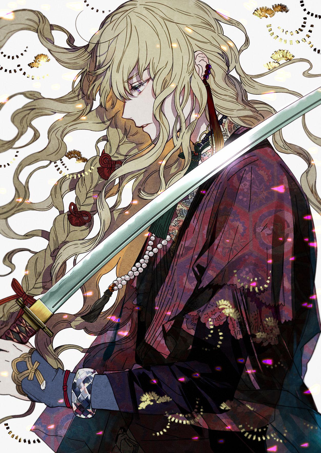 Pixiv Kazari Tayu Blonde Hair Male Original Anime Boy Long Hair Anime Guys Anime Guy Long Hair