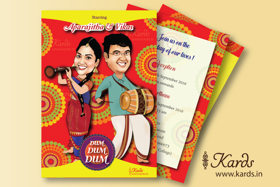 A Rich And Elegant Caricature Invite Takes You To The S Own Country Kerala Orange Envelope With Golden Indian Motifs Adds Elegance Of