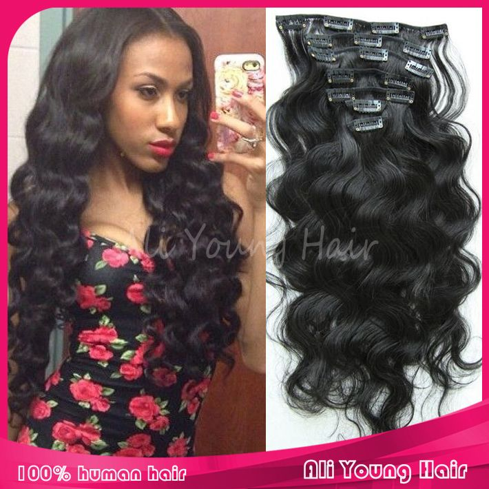 Find more clips in hair information about 7pcsset 100g body wave find more clips in hair information about 7pcsset 100g body wave brazilian clip in human hair extensions natural style remy hair extension for african pmusecretfo Choice Image