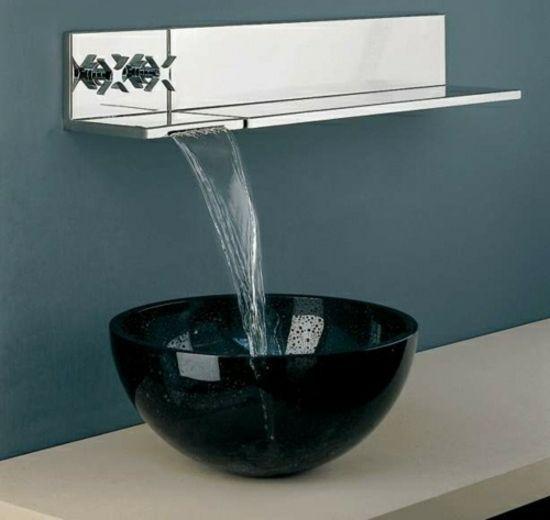 Wasserhahn Gäste Wc minimalistisches badezimmer eleganter schwarzer waschbecken