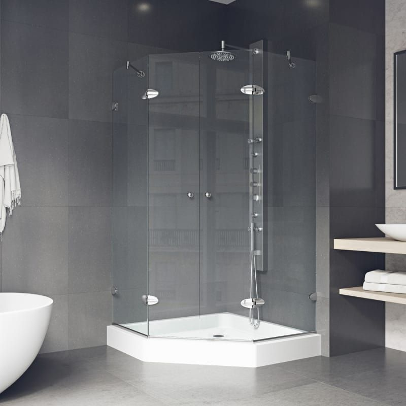 Vigo Vg6063chcl47w Clear Chrome Gemini 76 3 4 High X 47 Wide X 47 5 8 Deep Hinged Frameless Shower Enclosure With 3 8 Glass Shower Pan Included Neo Angle Shower Shower Enclosure Neo