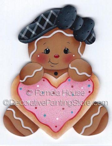 Ginger Heart Cookie ePattern by Pamela House - PDF DOWNLOAD #DecorativePaintingStore #gingerbread  #gingerbreadheart #Pamela House #gingerbreadcookie