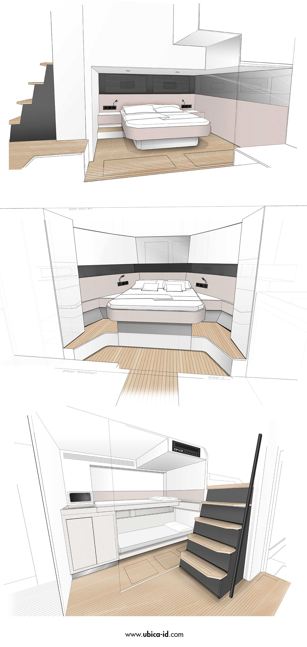 Inicial sketches for de antonio yachts d43 interior for Progetti design interni