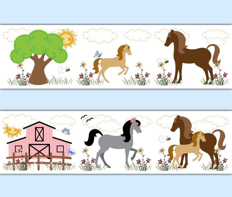 Horse Wallpaper Border Wall Decals Cowgirl Girl Room Barnyard Pony - Barnyard nursery wall decals