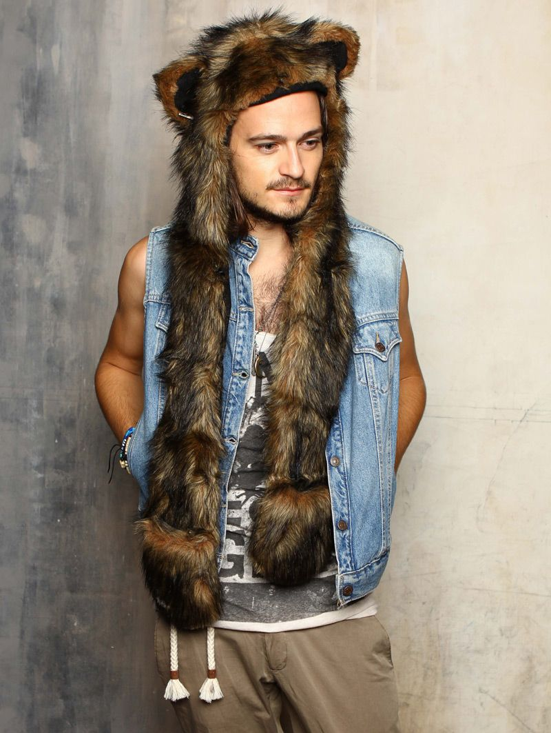 d337285f8 #SpiritHoods Grizzly Bear #FauxFur #Festivals $99 -- Sales give 10% back to  endangered animals #GiveBack