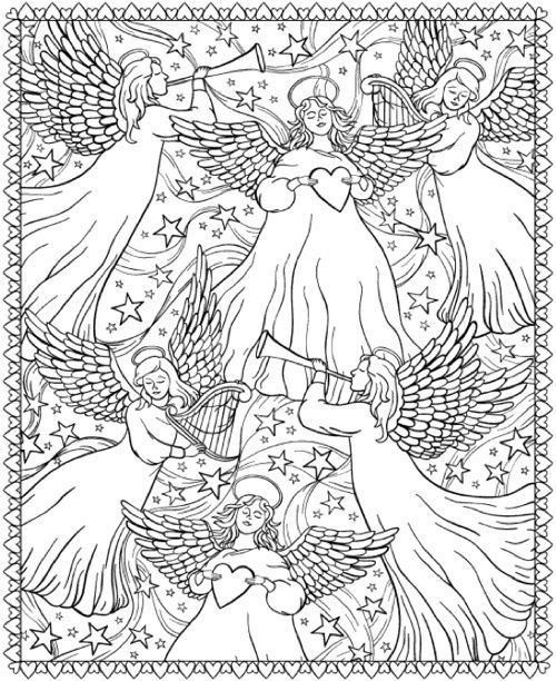 Angels Coloring Page From Creative Haven Christmasscapes Coloring Book Holiday Coloring Book Angel Coloring Pages Coloring Books
