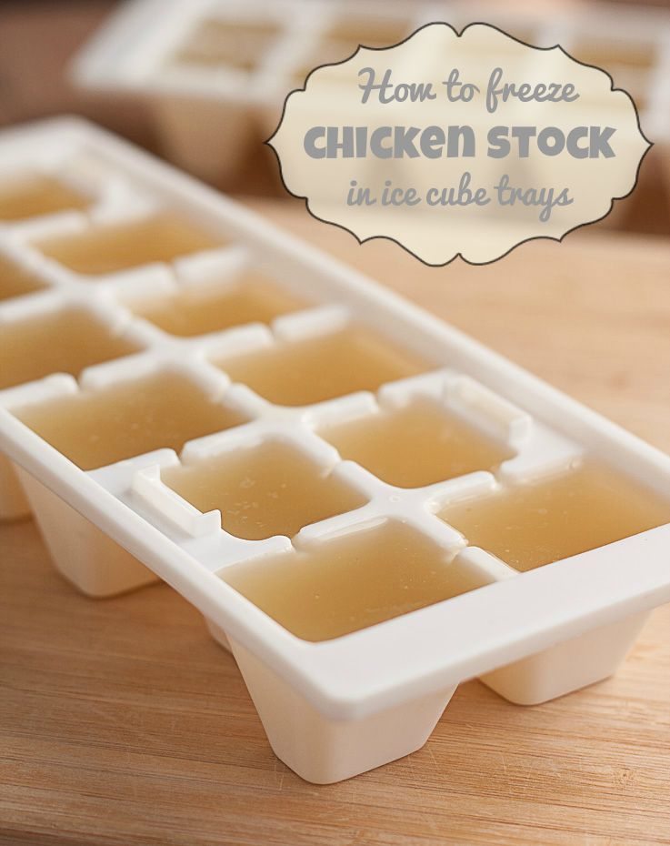Freeze chicken stock in ice cube trays ice cube trays