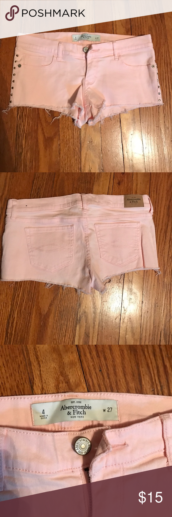 Abercrombie & Fitch shorts Light pink shorts- gold studs- destroyed look- size 4 Abercrombie & Fitch Shorts Jean Shorts