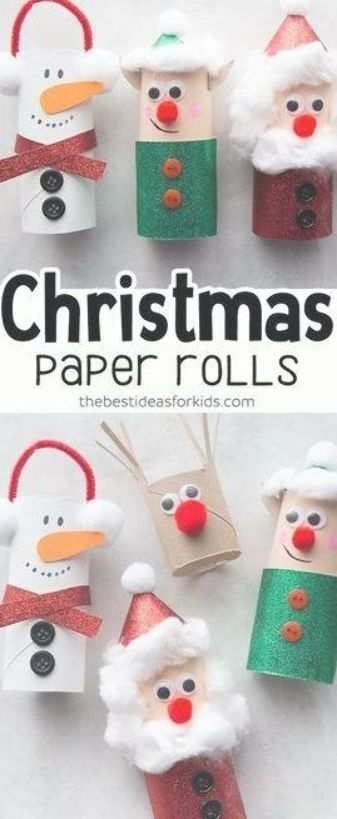 Christmas Crafts for Kids - Toilet Paper Roll Christmas Crafts. Kids will love making these for Christmas! Perfect for preschool or kindergarten classes too. Easy Christmas Craft for Kids. #bestideasforkids #christmas #christmascraft #craft #diy #kidscrafts #kidsactivities #paperrolls #papercraft #preschool #kindergarten #toddlers #christmascraftsforkidstomaketoddlers