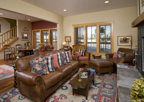 Country Style Traditional Living Room Decor Brown Leather Sofa Furniture Ideas