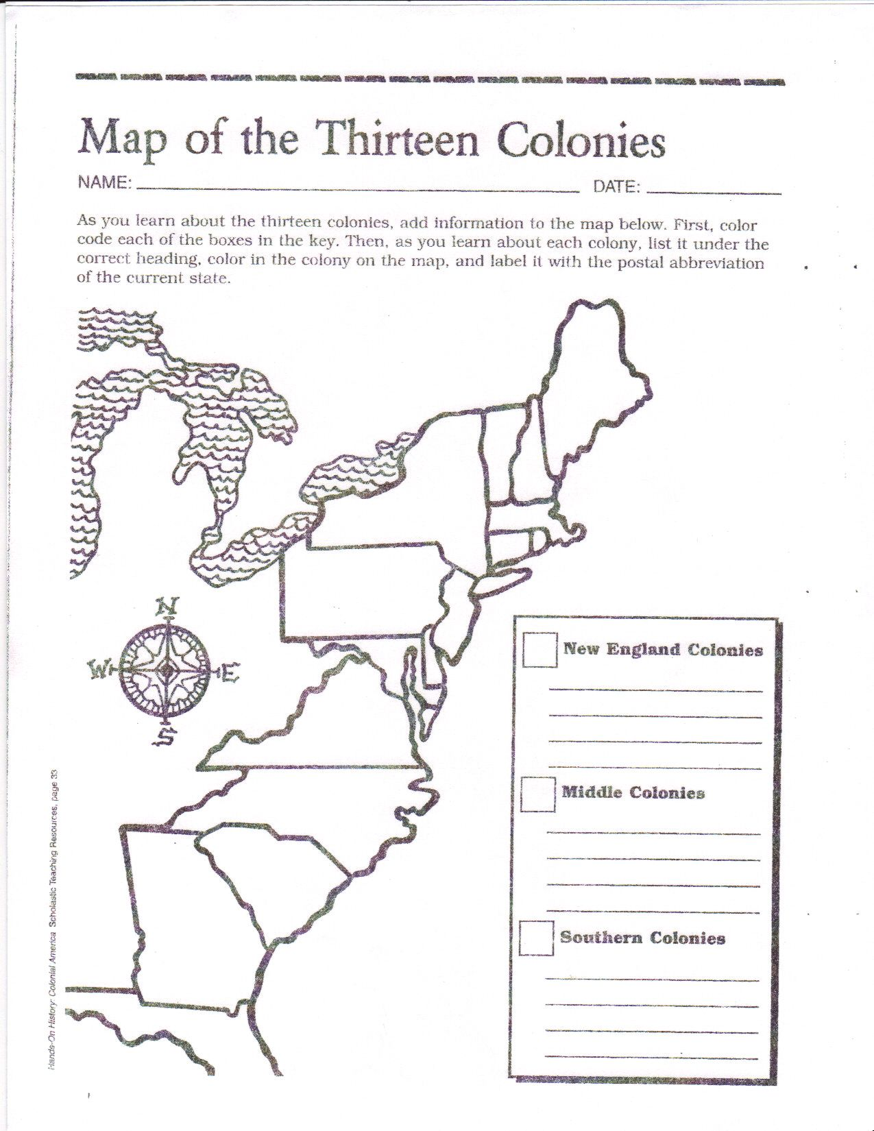 graphic about 13 Colonies Quiz Printable titled Free of charge Printable 13 Colonies Map  Pursuits 7th g