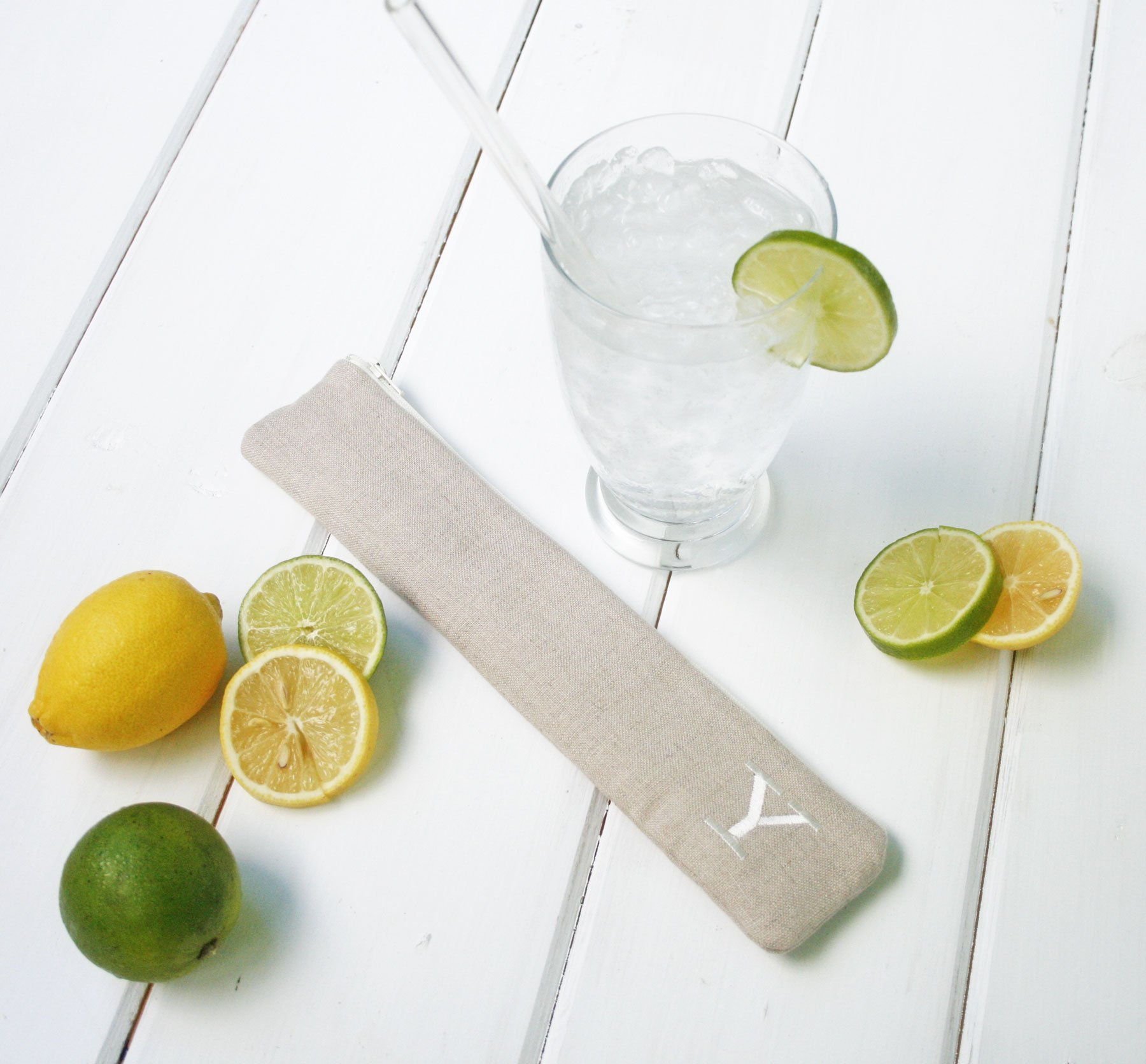 Reusable Straw Pouch in Lovely Linen, Personalized Reusable