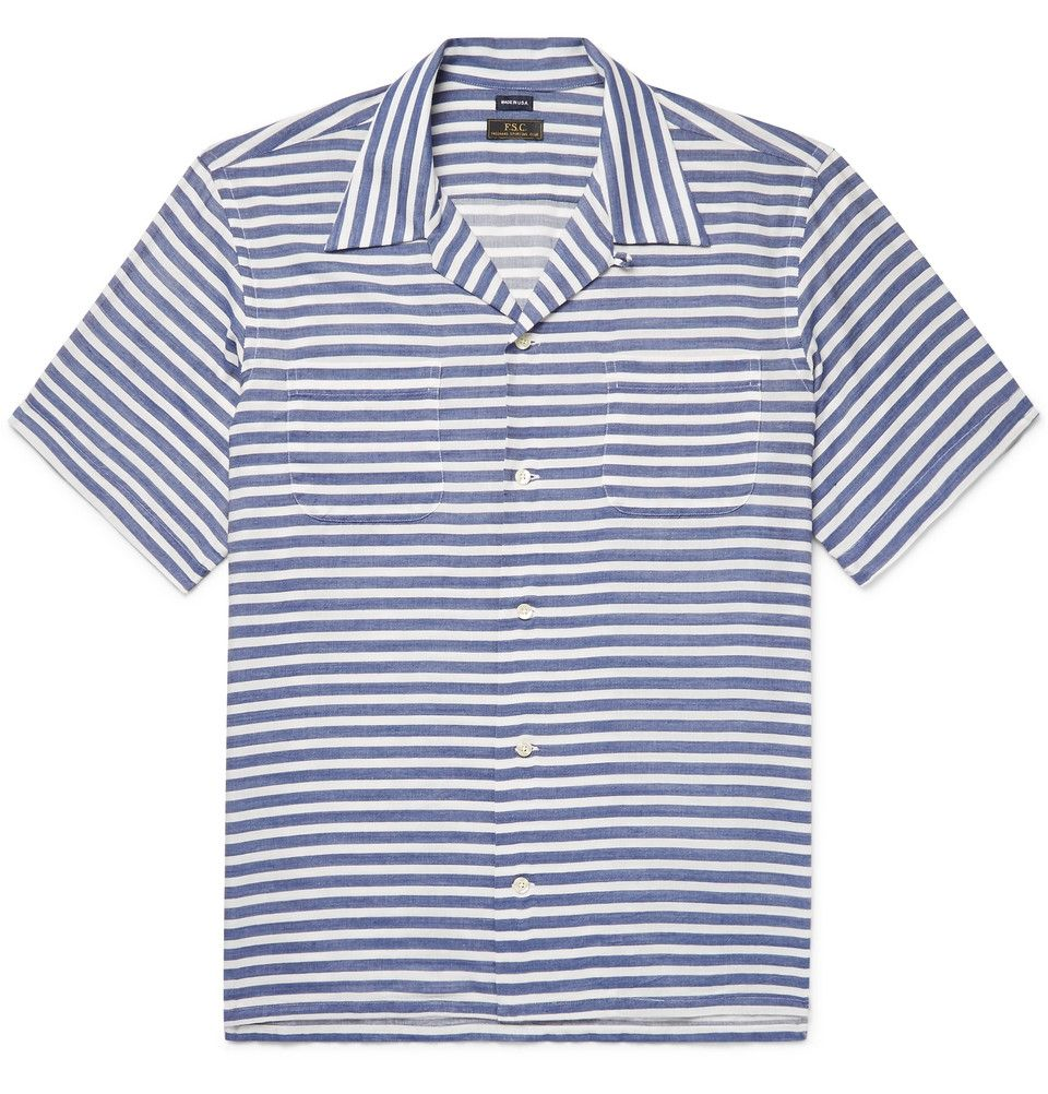 Freemans Sporting Club CampCollar Striped CottonBlend