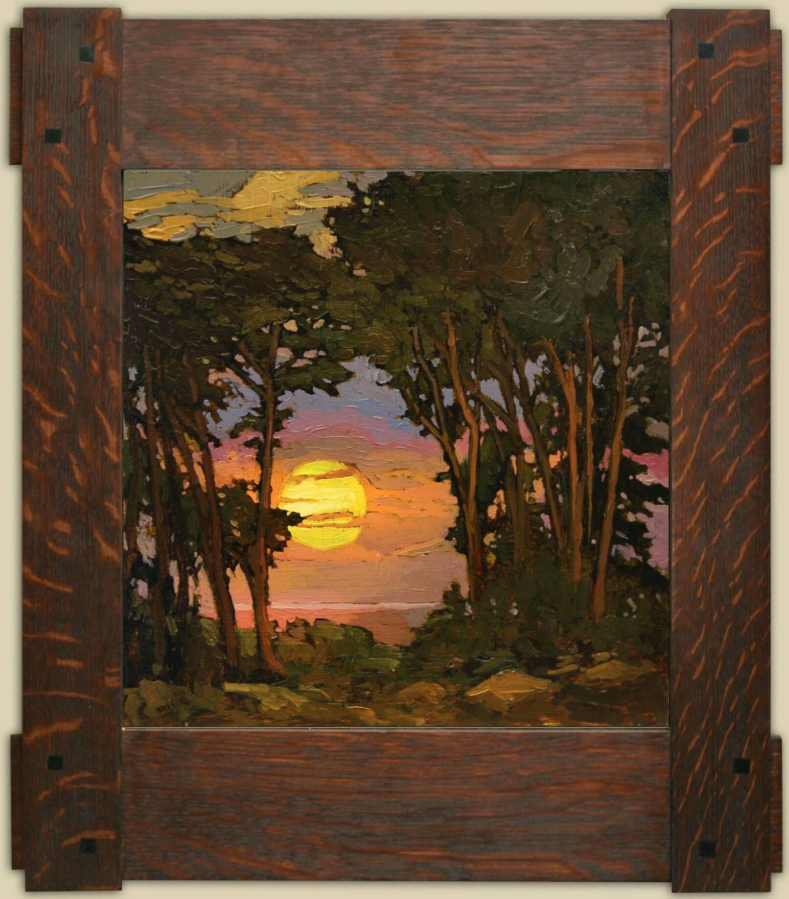 """Sunset on the Coast""   Jan Schmuckal   Dard Hunter Studios Frame   Arts and Crafts   Bungalow   Impressionism"