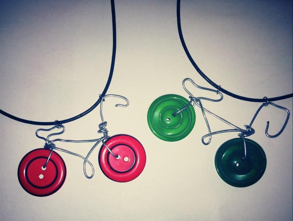 Bike necklace pendant made from #recycled #coathanger and #buttons ...