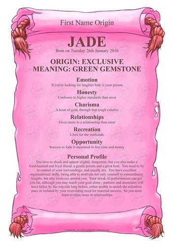 Jade - Name Meaning by Personalised Certificates, via Flickr | J ...