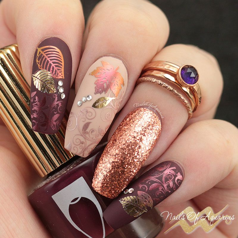 Leaves Are Fall-ing: Pigment and Foil Stamped Nail Art   Nail ...