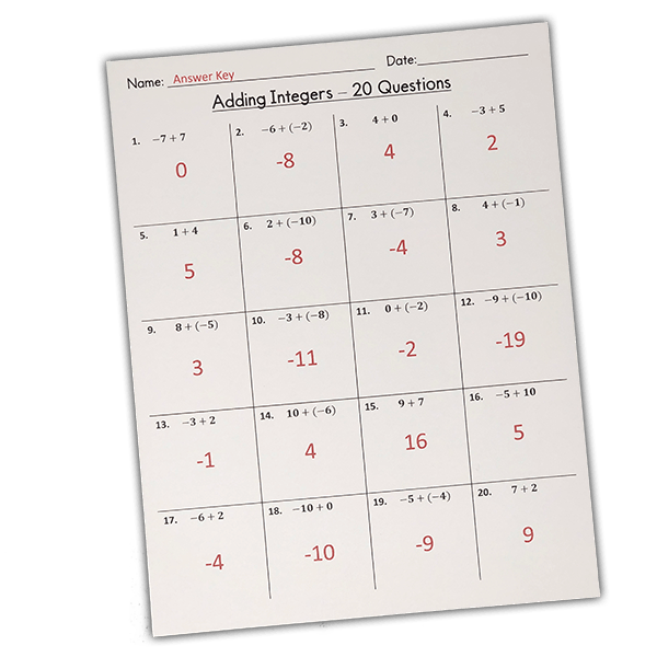 FREE Beginners Adding Integers Worksheets (Integers from