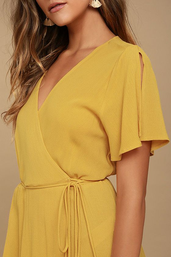 5d369f30281e94 We re forever grateful we found the Much Obliged Golden Yellow Wrap Maxi  Dress! Gauzy woven rayon drapes into a sultry surplice bodice